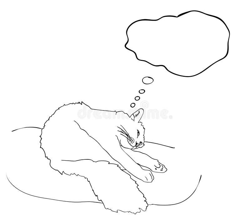 微笑作白日梦关于事愉快的猫,与空的空间的梦想云彩在黑白颜色,概述原始的手痛苦 皇族释放例证