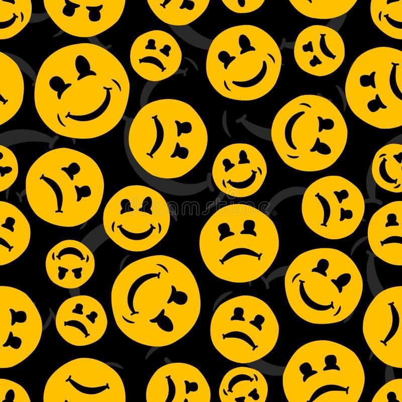 微笑和哀伤的意思号的无缝的重复的样式 向量 皇族释放例证