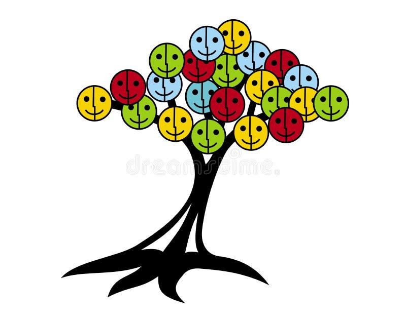 微笑和喜悦树  与兴高采烈的面孔的树在variouscolors 皇族释放例证
