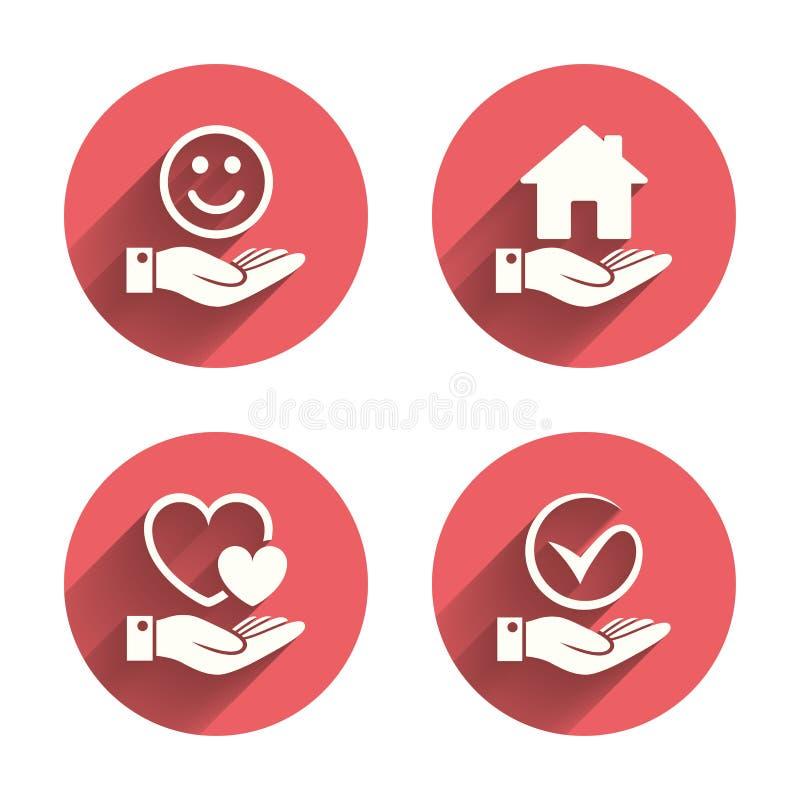 微笑和手象 心脏,壁虱标志 向量例证
