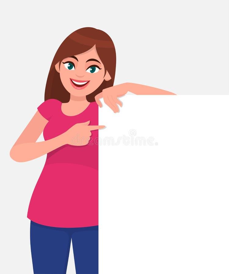 微笑和拿着白皮书或委员会空白/空的板料和指向与食指的年轻美女 皇族释放例证