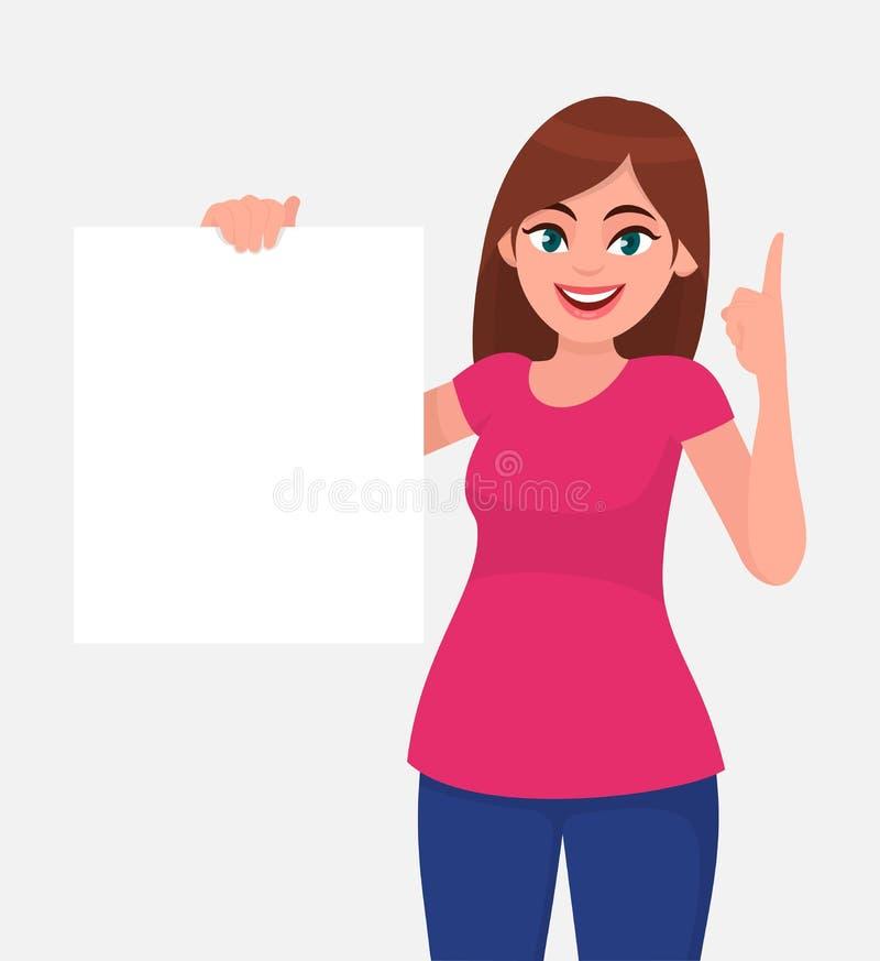微笑和拿着白皮书或委员会空白/空的板料和指向手指的年轻美女 皇族释放例证