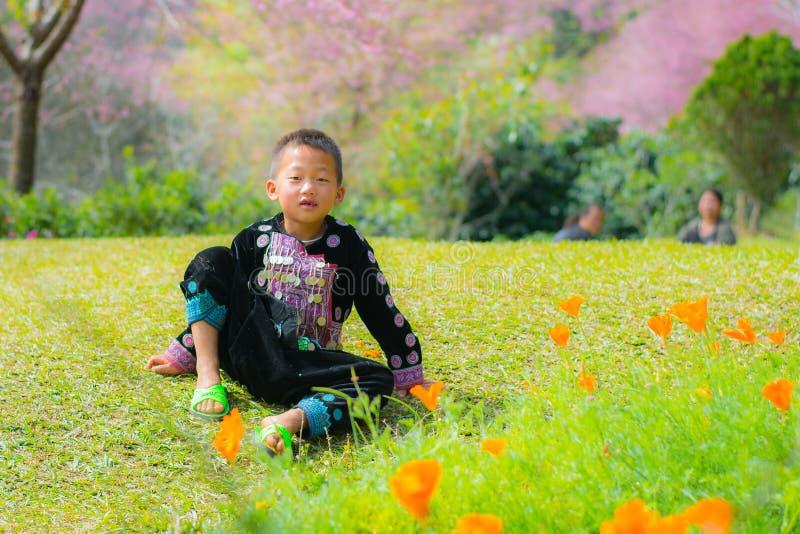 微笑在与樱花花的儿童的面孔 免版税库存图片