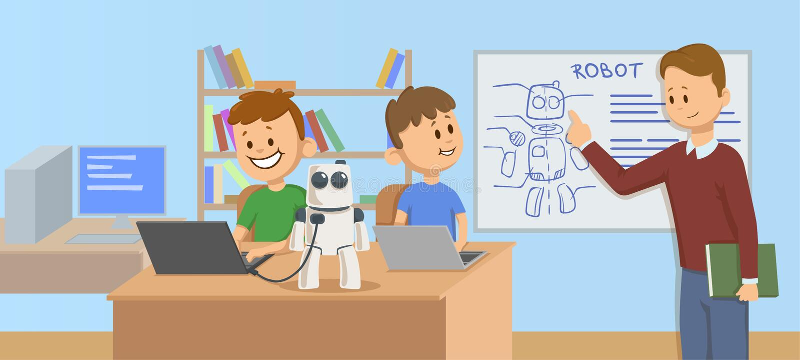 微笑在学习机器人学,科学的教室哄骗 学生的老师解释的机器人技工在a前面 库存例证