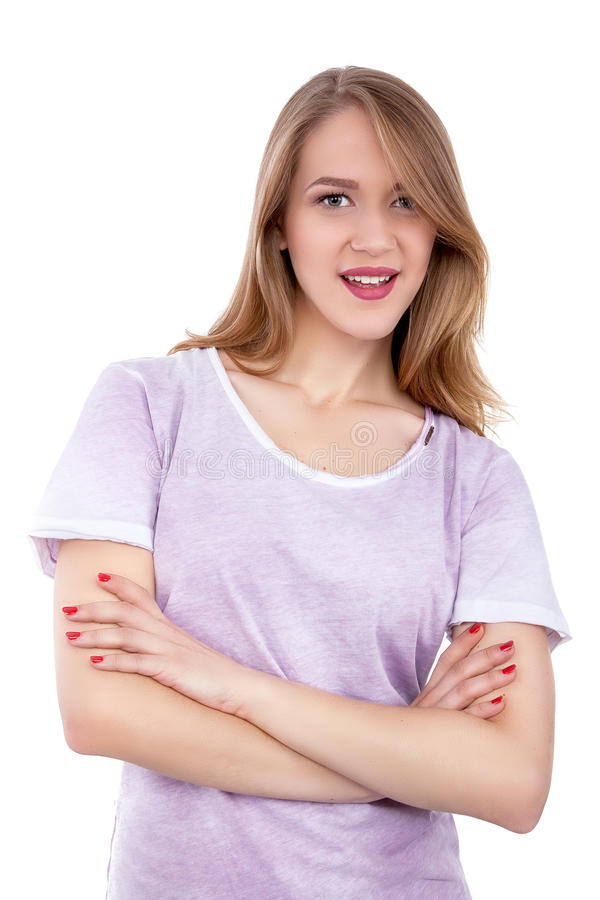 微笑在白色背景-储蓄图象的一个美丽的少妇的特写镜头 库存照片
