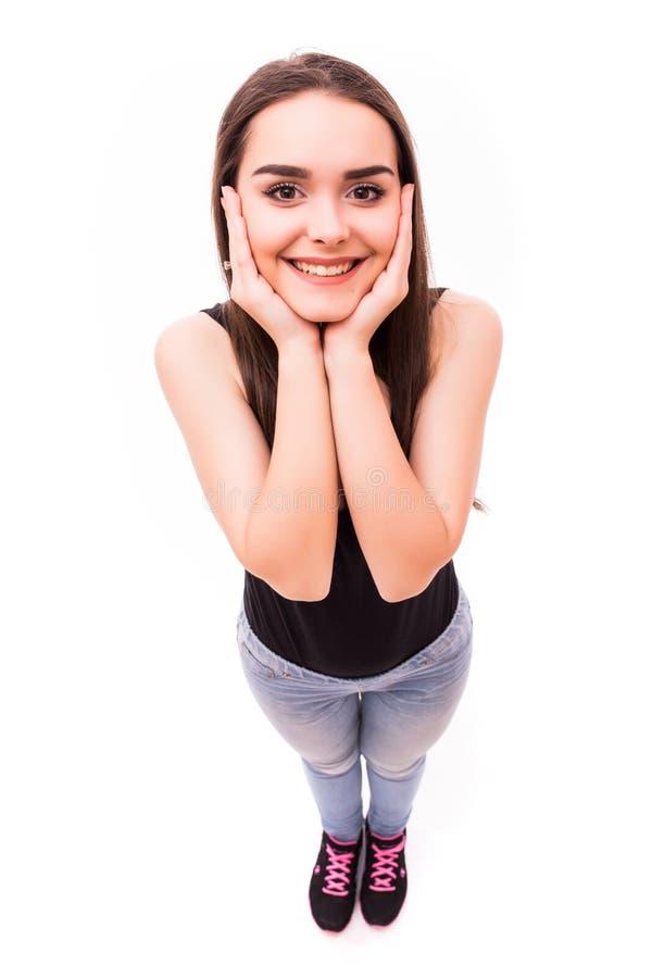 微笑女孩从上面 图库摄影