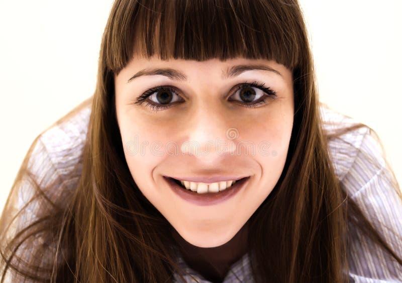 微笑妇女的美丽的闭合的纵向 免版税库存照片