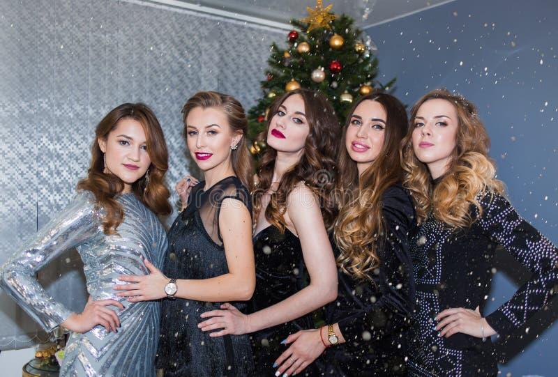 微笑对在圣诞树背景的照相机的一个小组有明亮的构成的美丽的迷人的妇女和礼服 免版税库存照片