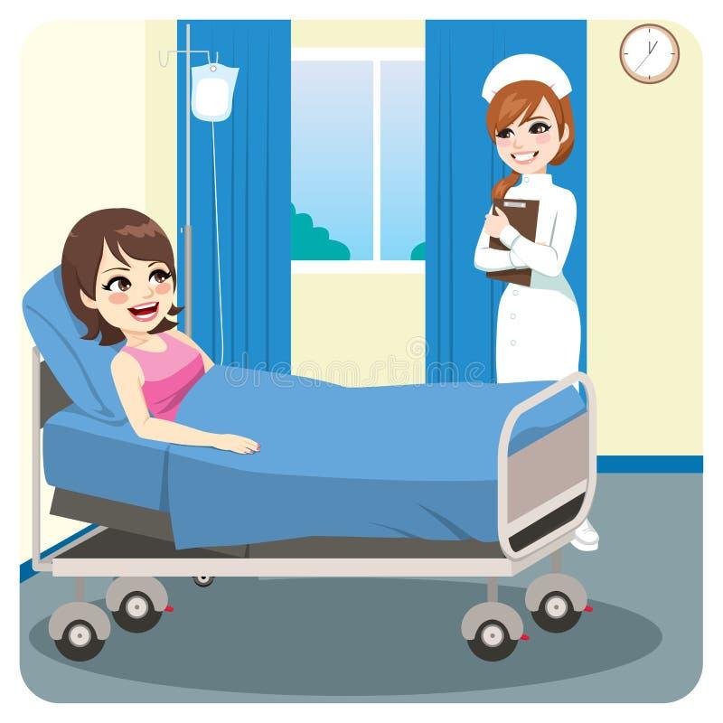 微笑对女性患者的护士 皇族释放例证