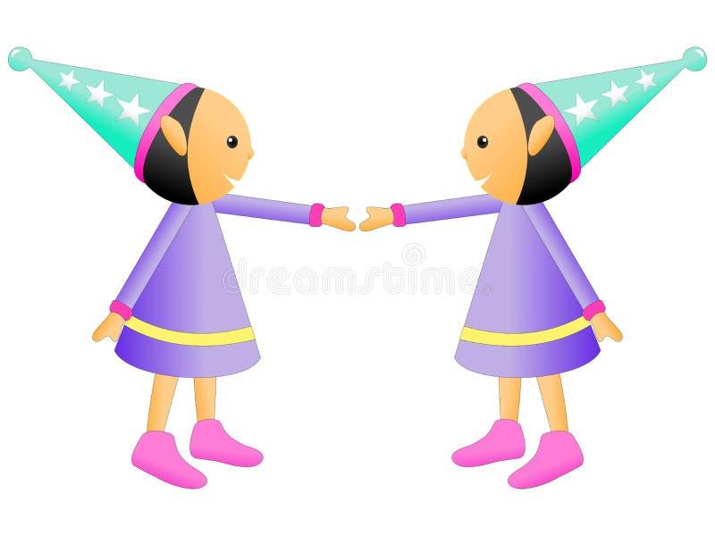 微笑对彼此的玩偶的例证在白色背景 图库摄影