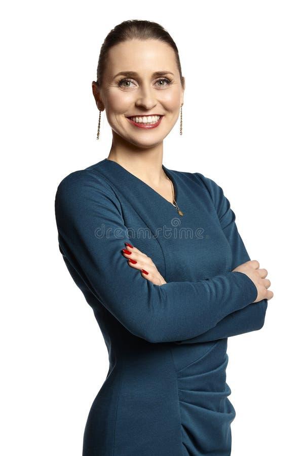 微笑对您的典雅的少妇 免版税图库摄影