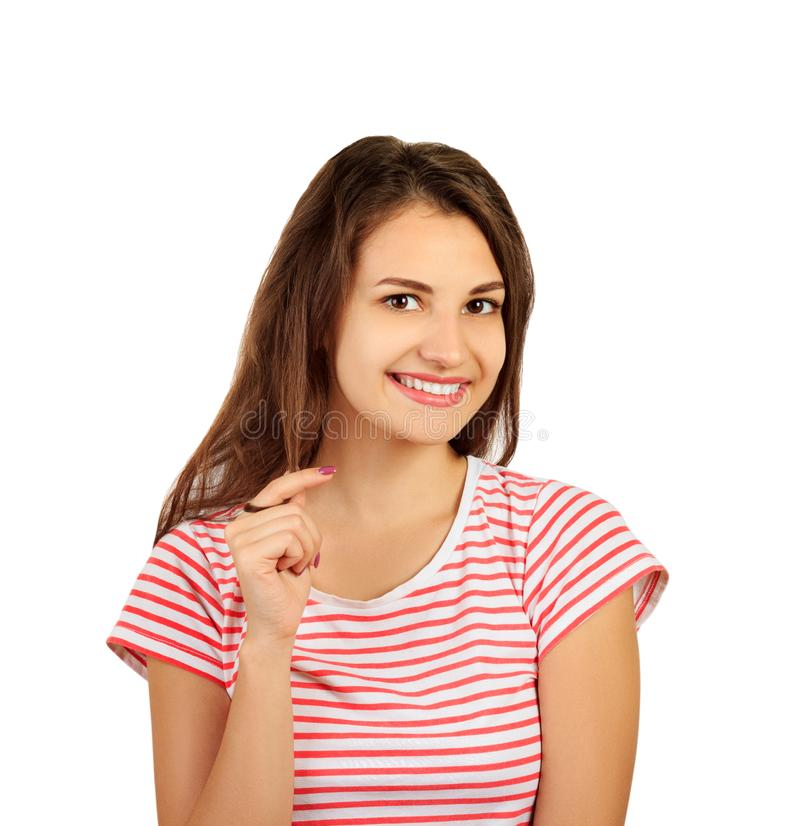 微笑对照相机的一个年轻诱人的浅黑肤色的男人的画象 在白色背景隔绝的情感女孩 库存照片