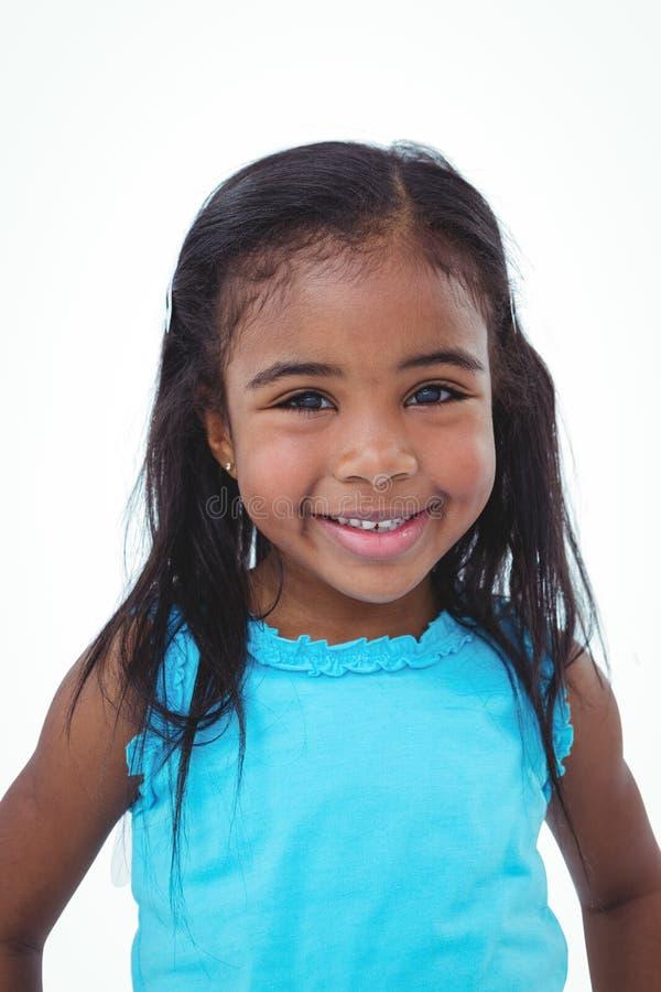微笑对照相机的逗人喜爱的女孩 库存图片