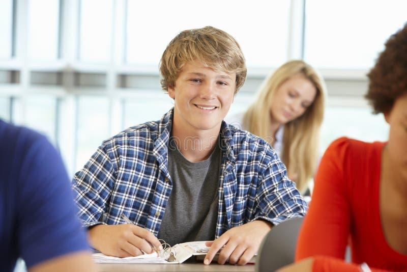 微笑对照相机的类的十几岁的男孩 免版税库存图片