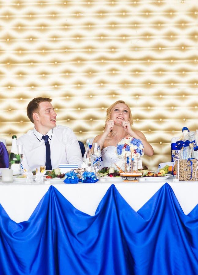 微笑对结婚宴会的情感美好的新婚佳偶夫妇 免版税库存图片