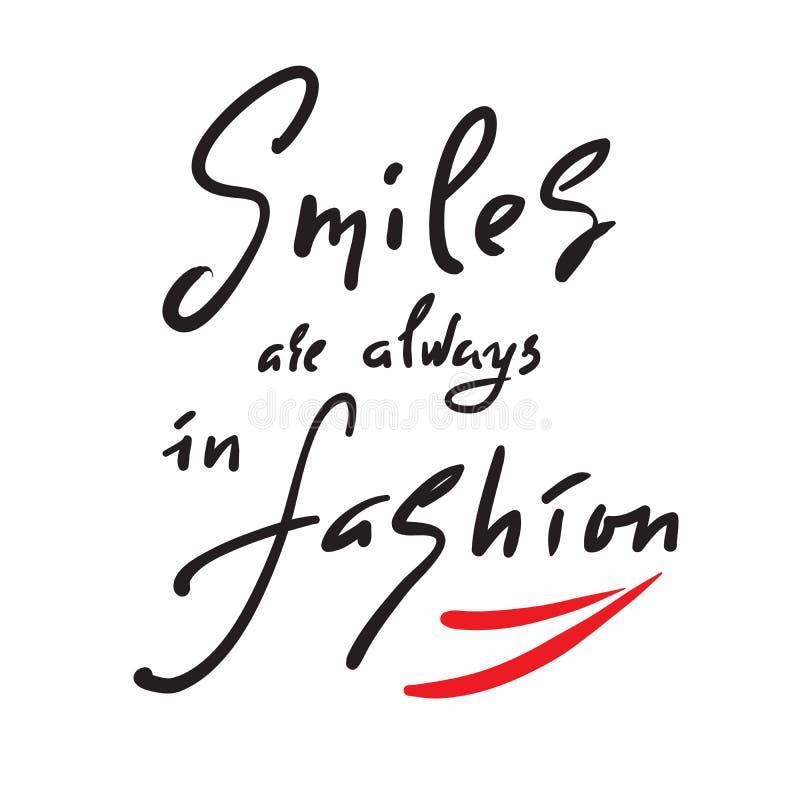 微笑总是以时尚-启发和诱导行情 手拉的美好的字法 激动人心的海报的印刷品, 库存例证