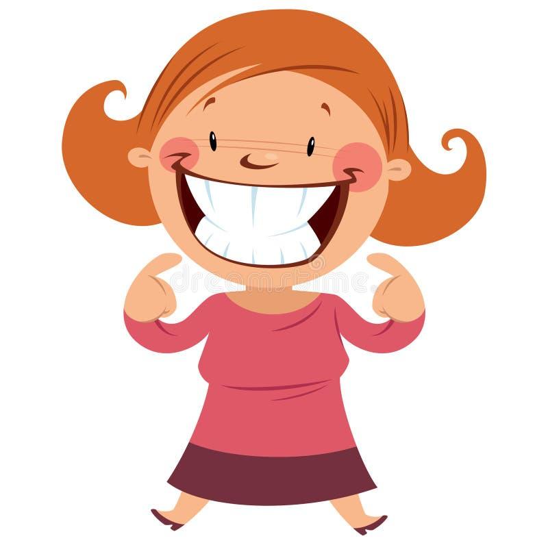 微笑愉快的妇女显示她的微笑和牙 库存例证