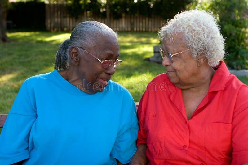 微笑愉快的成熟非裔美国人的姐妹笑和 库存照片