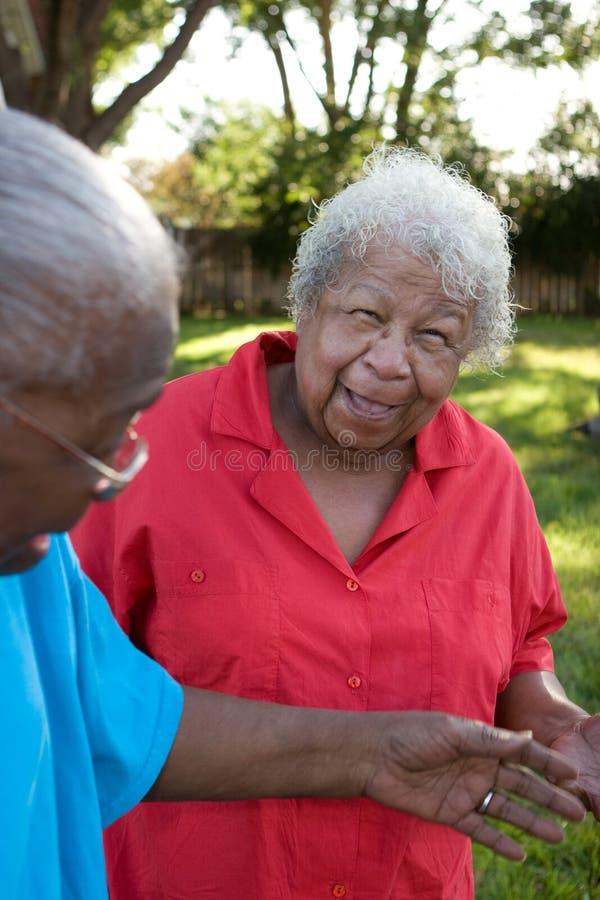 微笑愉快的成熟非裔美国人的姐妹笑和 库存图片