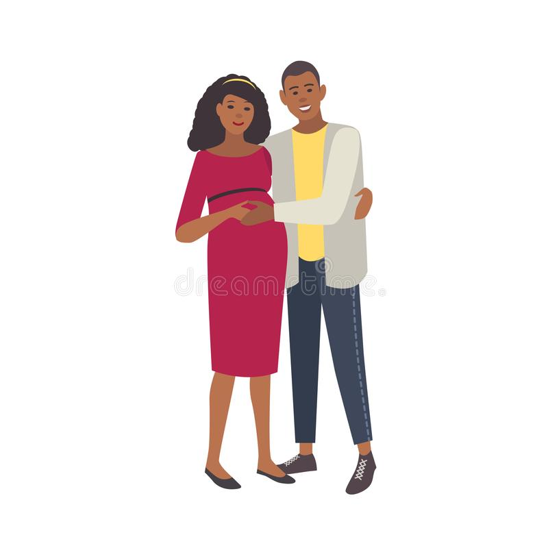 微笑拥抱在白色背景隔绝的孕妇和人 对年轻慈爱的父母 愉快的怀孕 向量例证