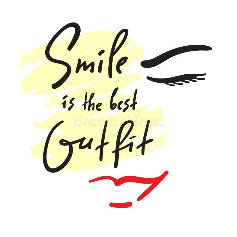 微笑是最佳的成套装备-启发和诱导行情 手拉的美好的字法 激动人心的海报的印刷品 皇族释放例证