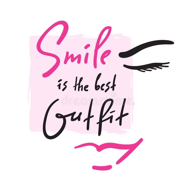 微笑是最佳的成套装备-启发和诱导行情 手拉的美好的字法 激动人心的海报的, T恤杉印刷品 向量例证