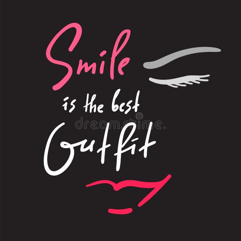 微笑是最佳的成套装备-启发和诱导行情 手拉的美好的字法 库存例证
