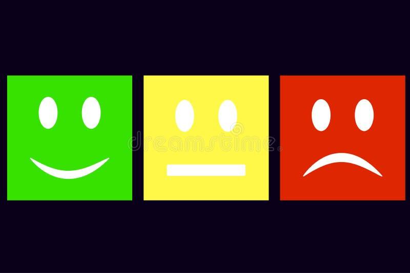 微笑是正方形 愉快的绿色-,愉快 黄色-法线 红阴沉,哀伤,哀伤 向量 向量例证