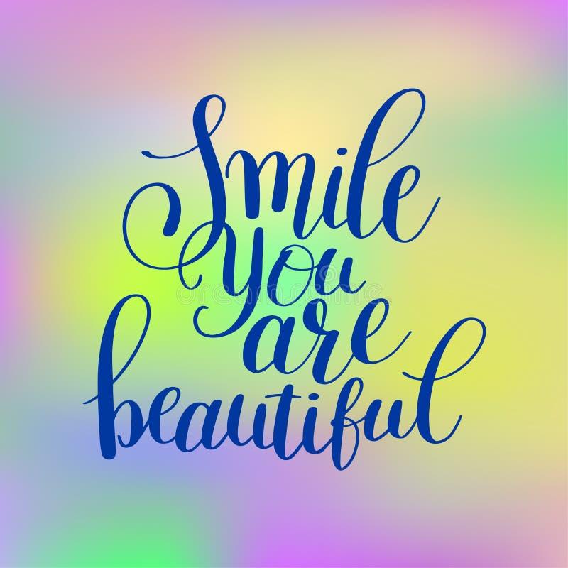 微笑是美好的词组手在正面行情上写字的您 向量例证