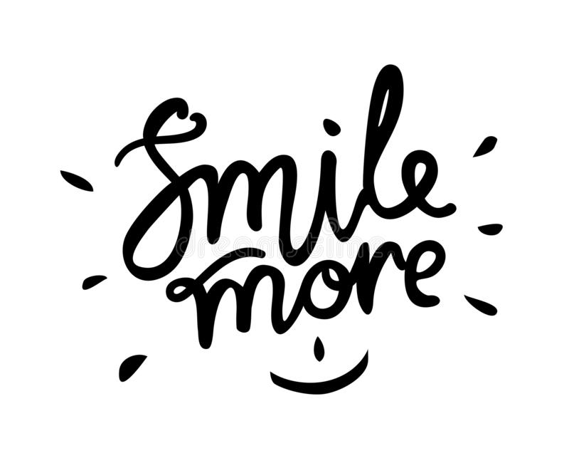 微笑更多-手拉的文本 时髦手字法 书法在贷方的被隔绝的行情 r 免版税库存照片