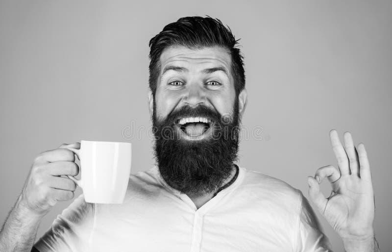 微笑有胡子的人显示标志ok 早晨好,人茶,好 有杯子的微笑的行家人新鲜的咖啡,愉快的人 库存照片