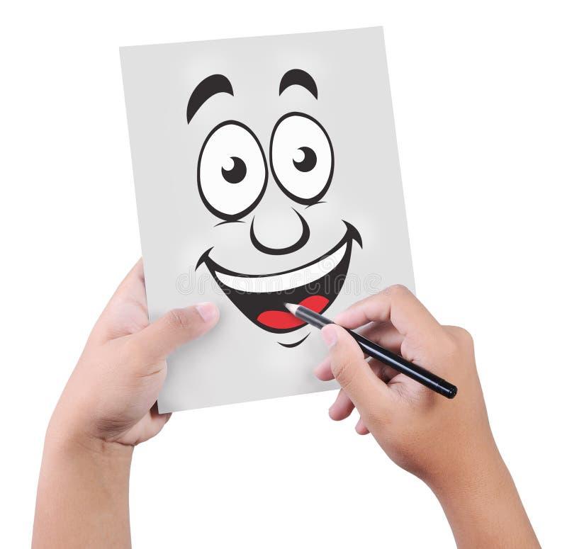 画微笑标志的男性手,隔绝在白色 免版税库存图片