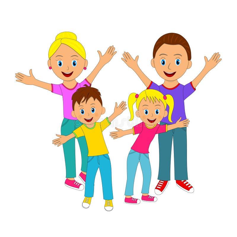 微笑用他们的手的愉快的家庭 库存例证