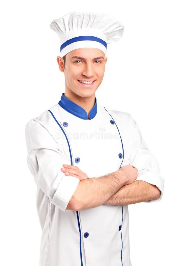 微笑的主厨纵向  免版税库存图片