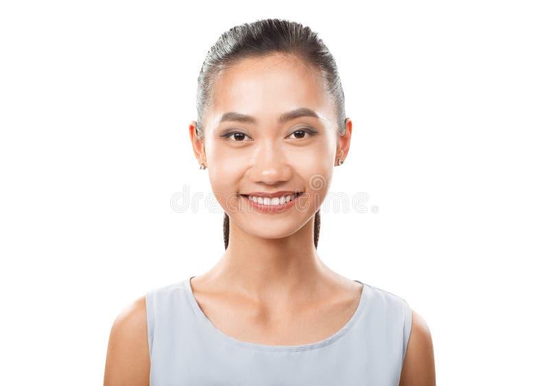 微笑的亚洲妇女特写镜头画象 库存图片