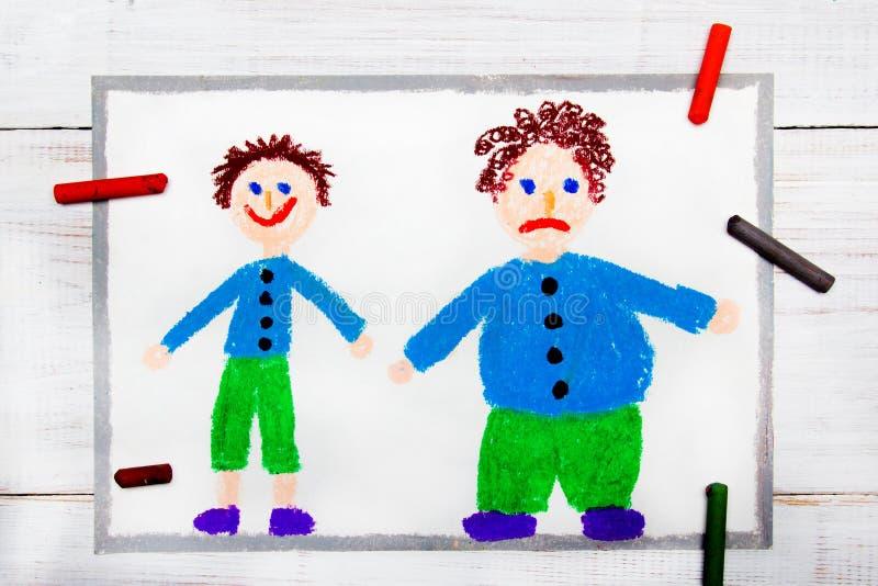 微笑的亭亭玉立的男孩和肥胖哀伤的男孩 查出的损失评定躯干重量白人妇女 向量例证