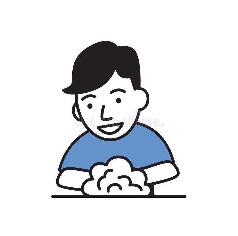 微笑的人洗涤的手 平的设计象 平的传染媒介例证 背景查出的白色 库存例证