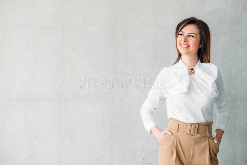 微笑的企业夫人成功的繁荣 免版税库存图片