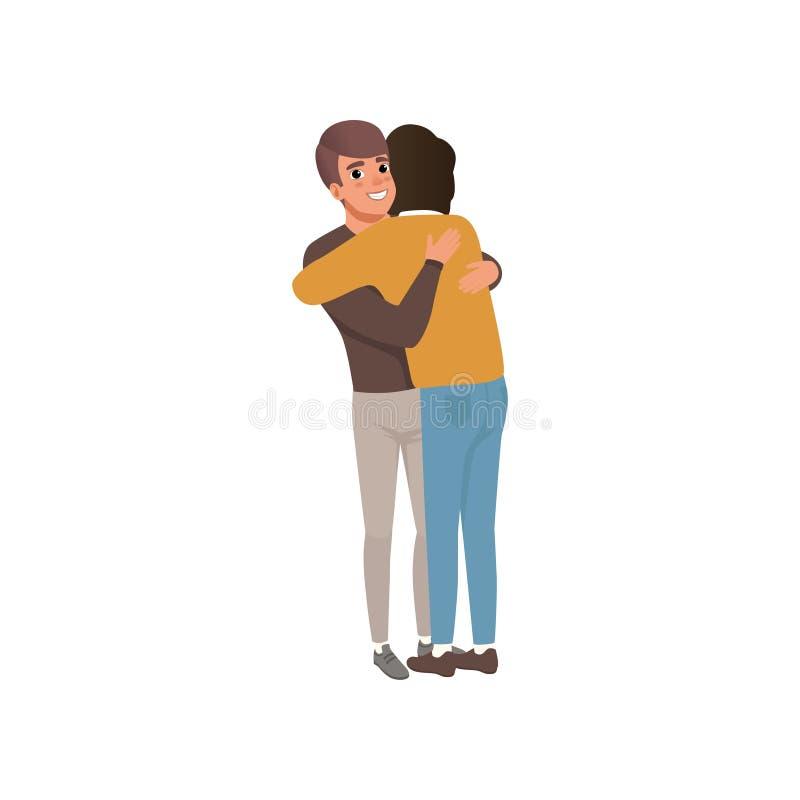 微笑的传染媒介例证年轻的人夫妇一起站立和拥抱,拥抱的亲密的朋友和 皇族释放例证