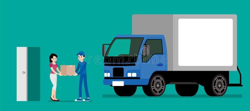 微笑的传讯者供以人员给纸板箱客户 愉快的妇女从发令者接受一个产品 物品送货业务 库存例证