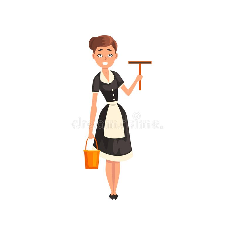 微笑的佣人拿着橡皮刮板和桶的,穿有黑礼服和白色的佣人字符经典制服 库存例证