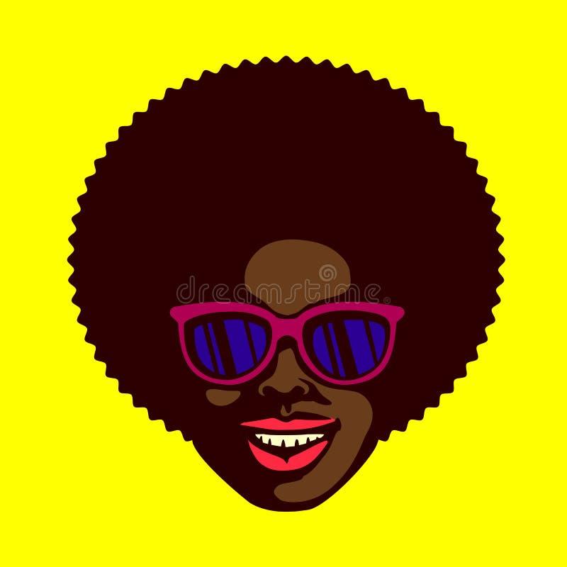 微笑的凉快的花花公子面对有非洲的头发和太阳镜传染媒介的黑人 皇族释放例证