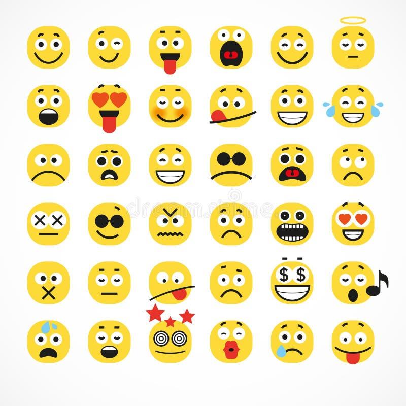 微笑的动画片面孔正面人情感 库存例证
