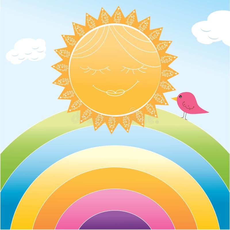 动画片太阳和彩虹 向量例证