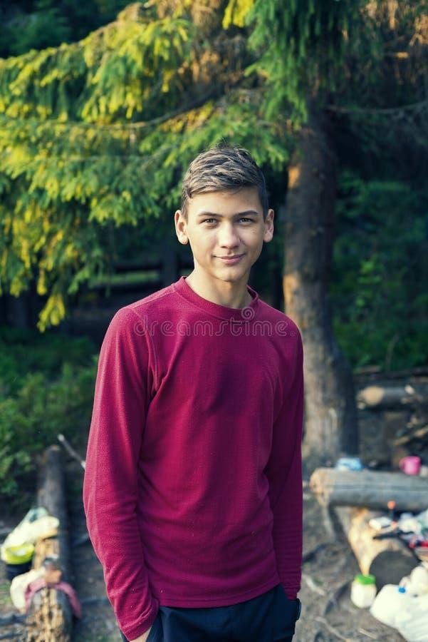 微笑的十几岁的男孩画象在森林里 库存照片