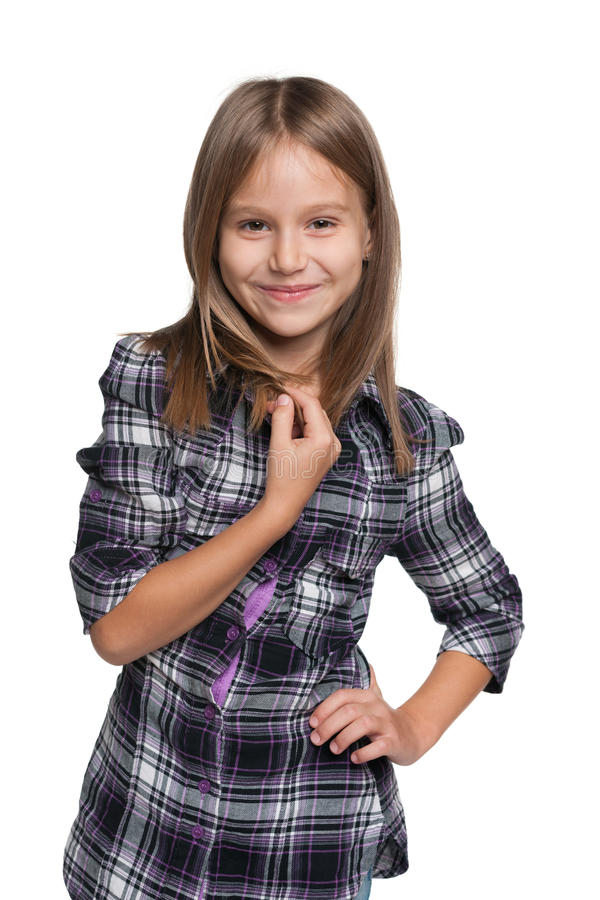 微笑的可爱的小女孩 图库摄影