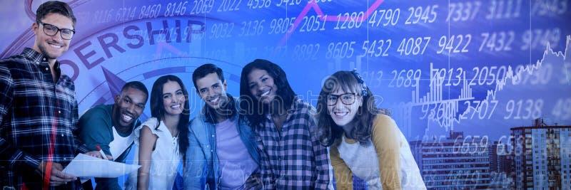 微笑的商人画象的综合图象工作在桌上的  免版税库存照片