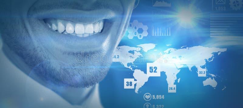 微笑的商人的中间部分的综合图象 库存图片