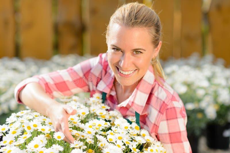 微笑的园艺中心妇女盆的雏菊花 免版税库存图片