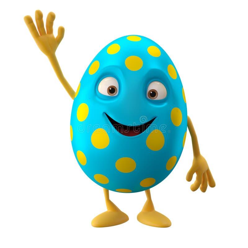 微笑的复活节彩蛋,滑稽的3D漫画人物,挥动的手,招呼 库存例证